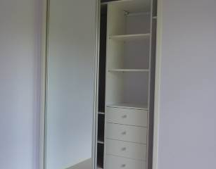 Bank of shelves with 4 standard 140 deep drawers 2050 off finished floor level