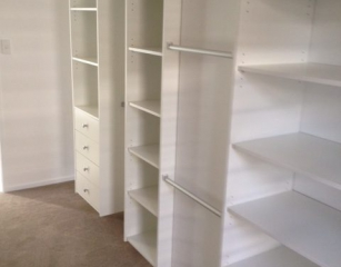 Open shelving with 1/2 hang and 4 standard 140 deep drawers. All at 2050 off finished floor level