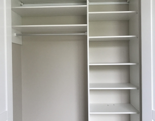 Standard bank of shelves with 3/4 hang at 2050 off finished floor level