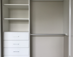 Bank of shelves with 5 standard 140 deep drawers and half hang at 2050 off finished floor level